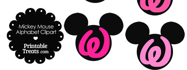 Pink Mickey Mouse Head Letter W Clipart