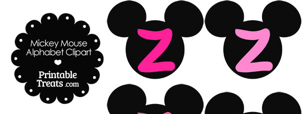 Pink Mickey Mouse Head Letter Z Clipart