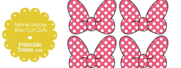Pink minnie mouse bow cut outs printable for Free printable minnie mouse bow template