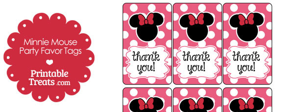 Pink Minnie Mouse Party Favor Tags — Printable Treats.com