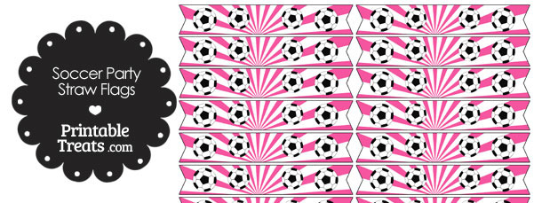 Pink Soccer Party Straw Flags