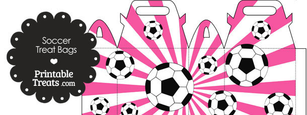 Pink Sunburst Soccer Party Treat Bags