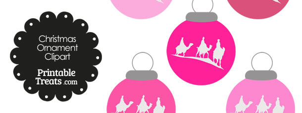 Pink Three Wise Men Christmas Ornament Clipart