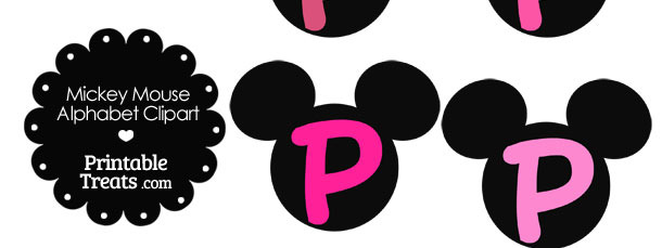 Pink Mickey Mouse Head Letter P Clipart