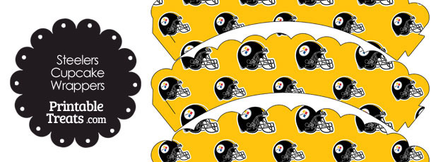 Pittsburgh Steelers Football Helmet Scalloped Cupcake Wrappers