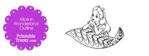 Printable Alice in Wonderland on a Leaf