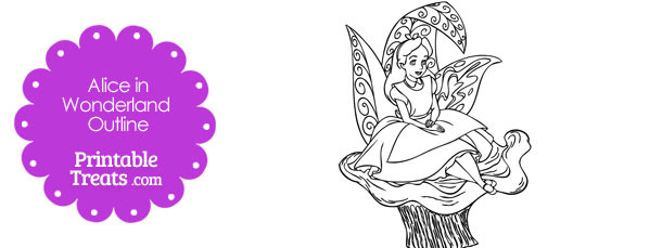 Printable Alice in Wonderland on a Mushroom Outline
