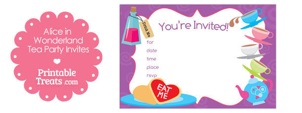 Printable Alice In Wonderland Tea Party Invitations