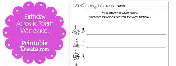 printable birthday acrostic poem  u2014 printable treats com