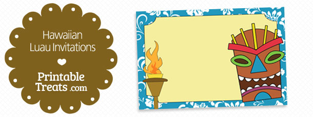 Free Printable Blue Hawaiian Luau Invitations