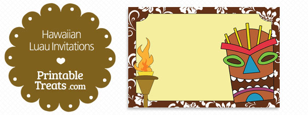graphic about Printable Luau Invitations named Printable Brown Hawaiian Luau Invites Printable