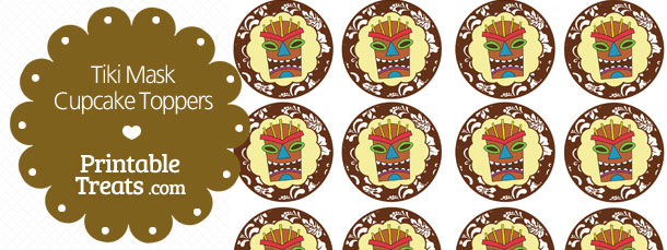 photo relating to Tiki Mask Printable known as Printable Brown Tiki Mask Cupcake Toppers Printable
