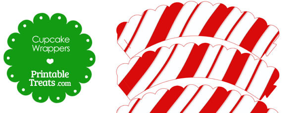 photo relating to Printable Candy Cane called Printable Sweet Cane Practice Cupcake Wrappers Printable