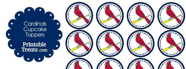 Printable Cardinals Baseball Logo Cupcake Toppers