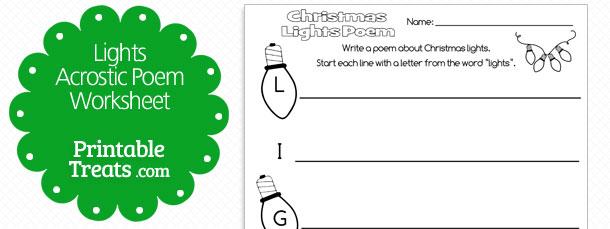 Printable Christmas Lights Acrostic Poem  U2014 Printable