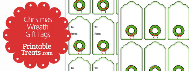 Printable Christmas Wreath Gift Tags — Printable Treats.com