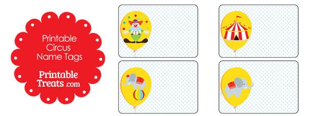 printable circus name tags  u2014 printable treats com