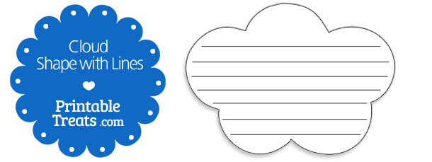 cloud template with lines - printable cloud shape with lines printable