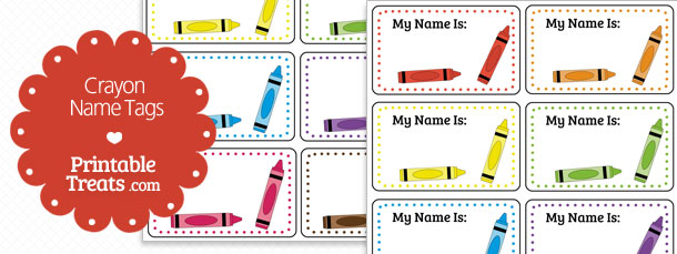 photograph about Name Tag Printable titled Printable Crayon Popularity Tags Printable