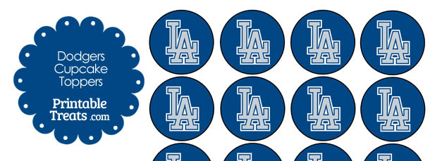 photo relating to Dodgers Schedule Printable titled Printable Dodgers Emblem Cupcake Toppers Printable
