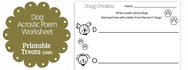printable dog acrostic poem  u2014 printable treats com