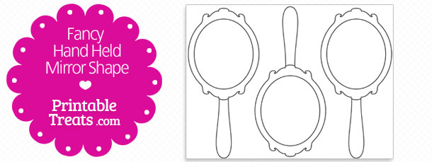 Free Printable Fancy Hand Mirror Shape Template