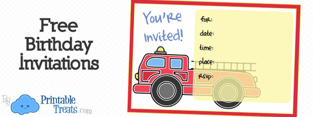 Printable Fire Truck Thank You Cards Printable Treats – Fire Truck Birthday Invitation