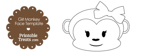 printable girl monkey face template printable treats com