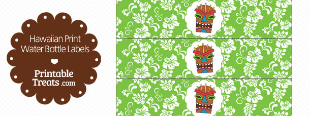 image relating to Free Printable Water Bottle Labels titled Printable Eco-friendly Hawaiian Print H2o Bottle Labels