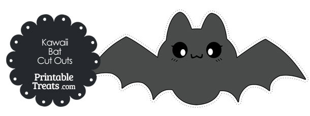Printable Grey Kawaii Bat Cut Outs