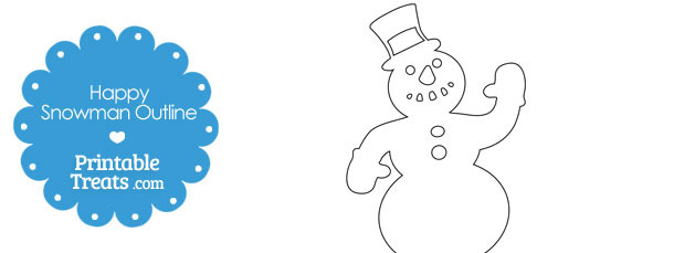 Printable Happy Snowman Outline