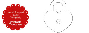 Printable Heart Shaped Lock Template