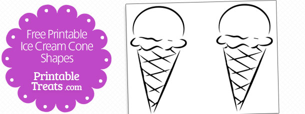 Free printable ice cream cone shapes printable treats free printable ice cream cone shapes maxwellsz