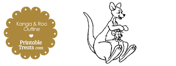 Printable Kanga and Roo Outline