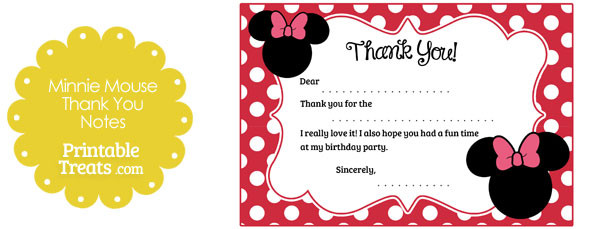 Free Printable Minnie Mouse Thank You Notes