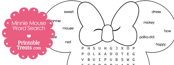 Printable Minnie Mouse Word Search Printable Treats Com