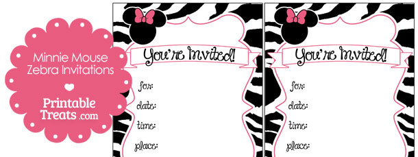 printable minnie mouse zebra invitations — printable treats, Birthday invitations