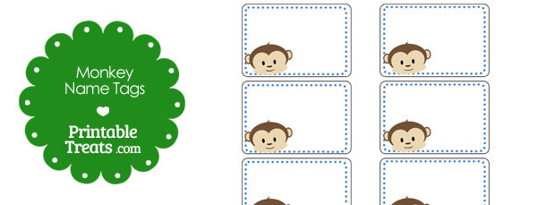 Printable Monkey Name Tags — Printable Treats.com