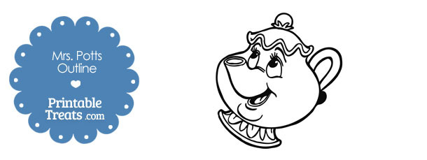 Printable Mrs Potts Outline