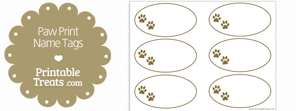 picture relating to Free Printable Paw Prints called Printable Paw Print Status Tags Printable