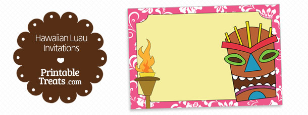 Free Printable Pink Hawaiian Luau Invitations