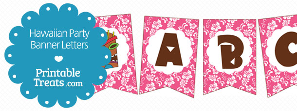 Printable Pink Hawaiian Party Banner — Printable Treats.com