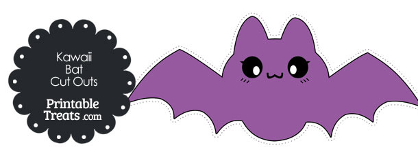 Printable Purple Kawaii Bat Cut Outs