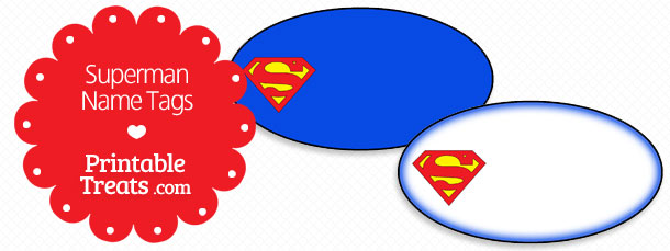 Old Paper Giant Superman Symbol Clipart Printable Treats