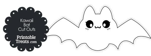 Printable White Kawaii Bat Cut Outs
