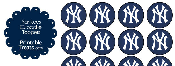 photograph regarding Yankees Schedule Printable named Printable Yankees Symbol Cupcake Toppers Printable
