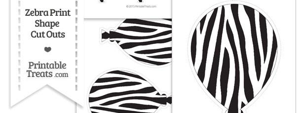 Printable Zebra Print Balloon Cut Outs
