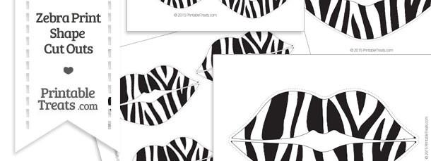 Printable Zebra Print Lips Cut Outs