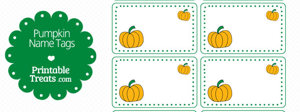 pumpkin name tags  u2014 printable treats com