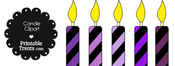 Purple and Black Candle Clipart